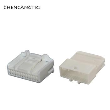 цена на 1 set pc 24 Pin way Female Male Wire Connector 1318917-1 Automotive Audio Navigation Rearview Socket Auto Plug 1376103-1