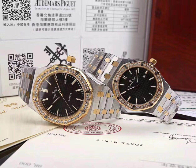 Top Luxury Brand New Men Women Stainless Steel Japanese Quartz Sapphire Silver Yellow Gold Black Diamond Sport Watch Waterproof
