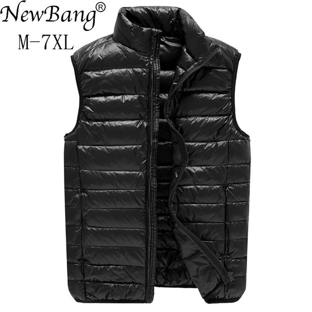 NewBang Chaleco ultraligero para hombre, 6xl, 7xl Plus, portátil, sin mangas, ligero, cálido, chaqueta de plumas de pato blanco