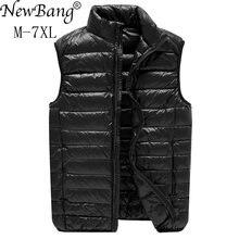 NewBang marka 6xl 7xl artı yelek Ultra hafif aşağı yelek erkekler taşınabilir kolsuz hafif sıcak ceket beyaz ördek aşağı yelek