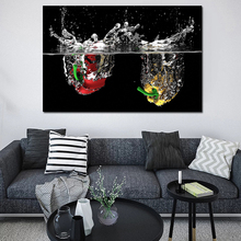 Green Peppers In Water Picture Wall Poster Modern Style Canvas Print Painting