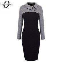 Vintage kadınlar Patchwork desen artı boyutu Bodycon zarif ofis bayanlar büyüleyici elbise EB238