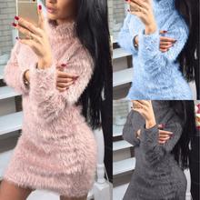 Женские свитера на осень и зиму, одноцветные сексуальные свитера с высоким воротом, свитер с длинным рукавом, мини-платье