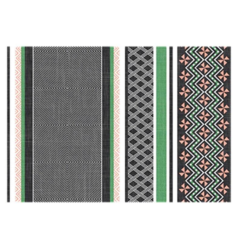 Купить ковер в корейском стиле серо зеленый геометрический мозаичный