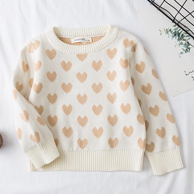1-6Yrs New 2020 Boy Girl Long Sleeve Loving Heart Knitted Sweater Autumn Winter Boys Girls Sweaters For Baby Girls Kids Sweater 4