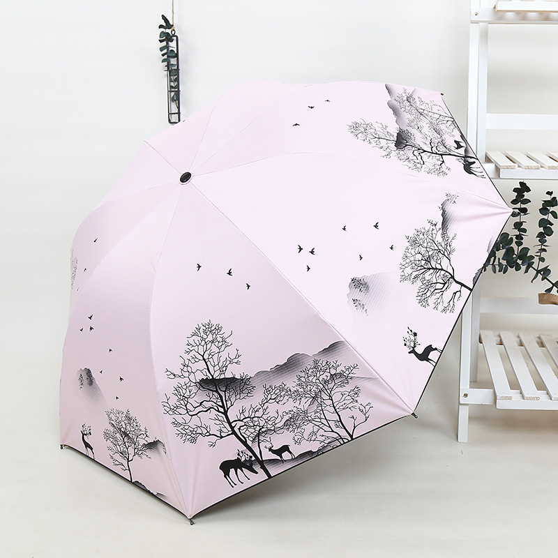 Ink MORI Series Cartoon Deer Hipster Folding Umbrella Vinyl Sun-resistant INS Elk Parasol