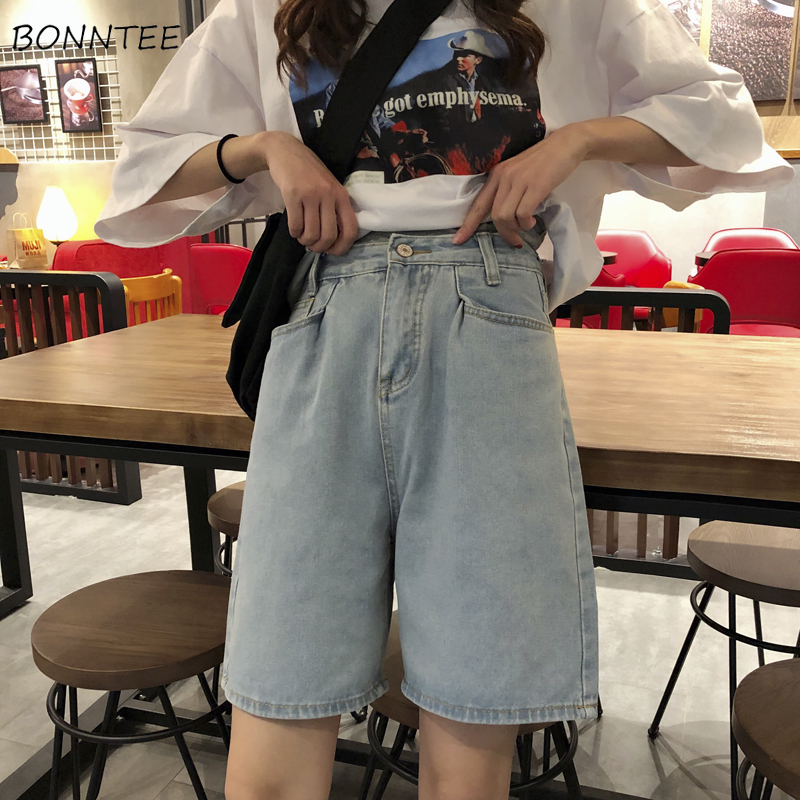 Shorts Women Simple Classic Elegant Summer Korean Denim Short Womens Pockets Straight Students Loose High Quality Retro Clothing