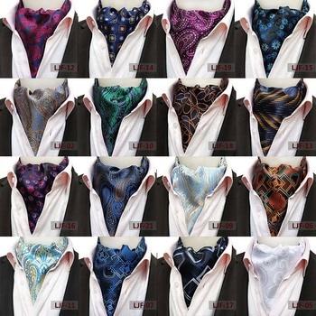 Upscale Men Tie Large Pattern Silk Necktie Jacquard Scarf Neckerchief Cravat Steinkrik Ascot Tie Wedding Gift Bowtie Neckwear 100% natural silk men s elegant double faced cravat scarf