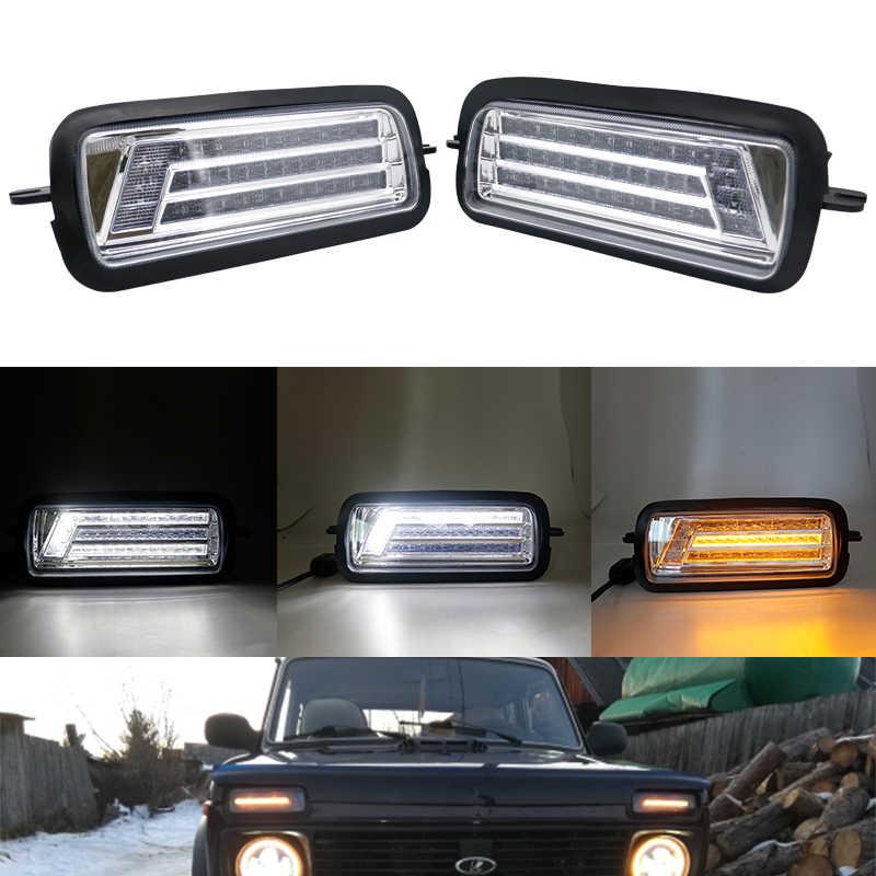 2020 para Lada Niva 4X4 1995 luces LED DRL con función de señal de giro de funcionamiento accesorios de estilo de coche lámpara de giro led