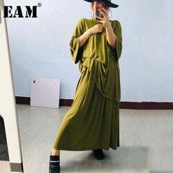 Женский костюм EAM, свободный костюм из двух предметов, с круглым вырезом и рукавом средней длины, большие размеры, весна-лето 2020, 1U727