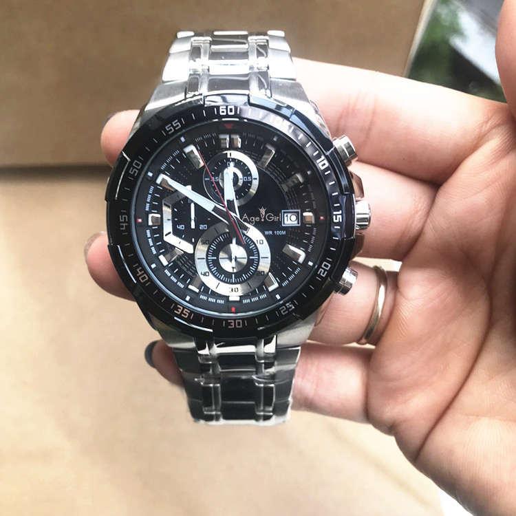 Luxury Brand New Quartz Chronograph Men Watch Stopwatch Watches Stainless Steel Ion Plated Limited Date Display Waterproof Sport