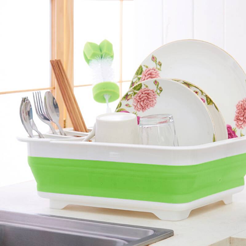 New Foldable Dish Basket Collapsible Colanders Foldable Silicone Kitchen Organizer Dish Rack Cutlery Baskets Folding Strainers