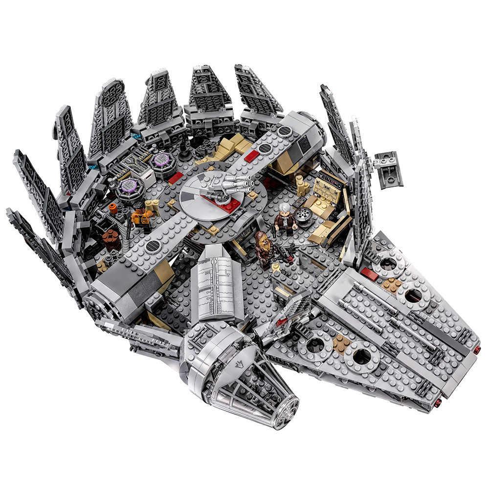 Tersedia 1381 Buah Lepining Star Wars Millennium 05007 Falcon Pesawat Ruang Angkasa Blok Bangunan Hadiah Ulang Tahun Mainan