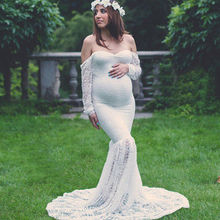 New Woman Maternity Lace Off Shoulder V Neck Long Maxi Dress Gown for Pregnant Women Photography Props Mermaid Dress Long Tail summer deep v neck high waist maternity maxi dresses sleeveless draping long evening gown for pregnant women dinner slim dress