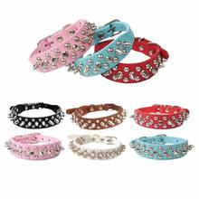 Adjustable Dog Candy Color Leather Rivet Spiked Puppy Necklace Studded Pet Dog Collar Beautiful Attractive For Small Dog Cat 1 pc pet dog collar leather rivet spiked puppy necklace studded pet dogs collars adjustable collar neck collar for pet dog cat