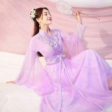 Traje chinês de dança do hanfu, traje de dança tradicional han roupas de princesa dynasty tang