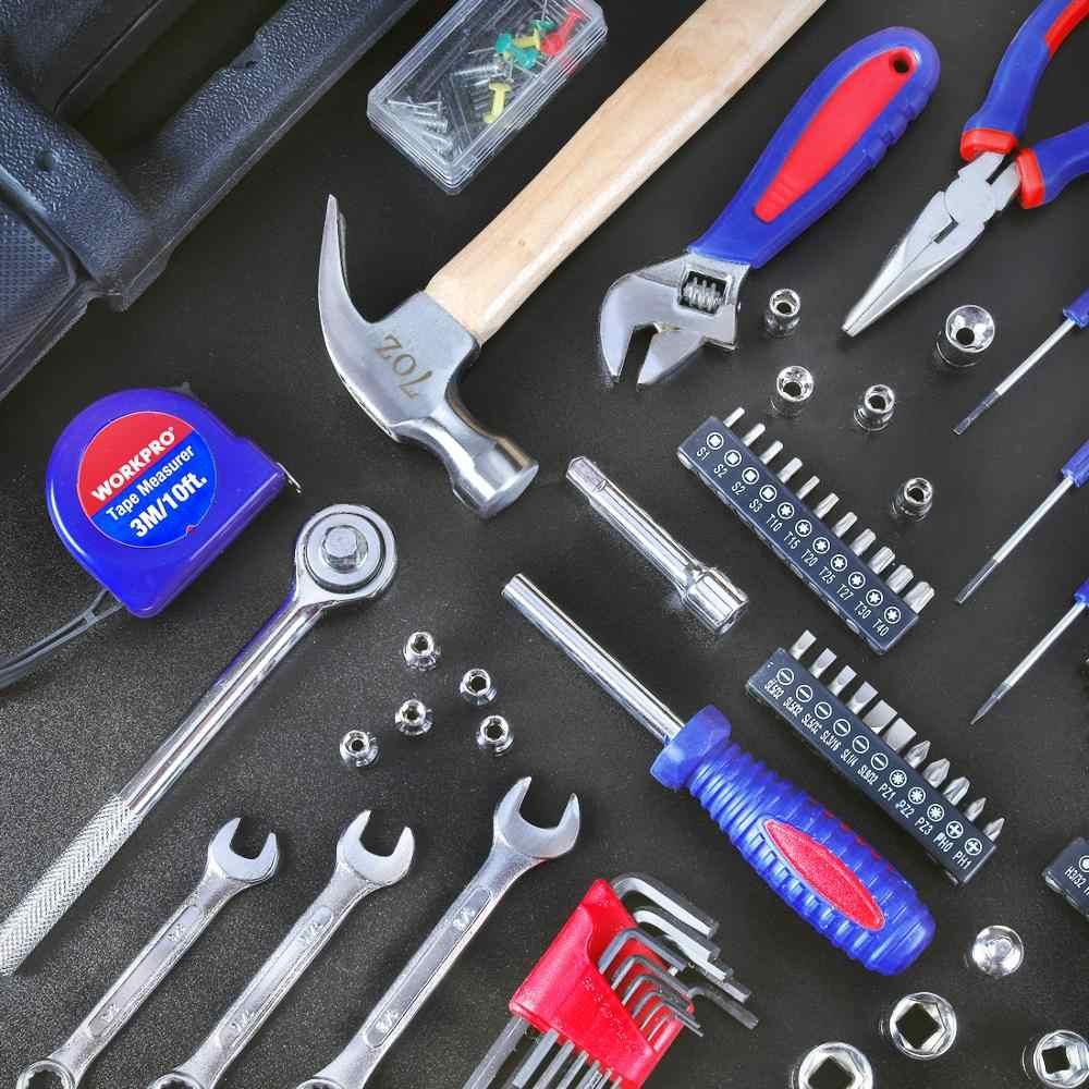 WORKPRO اليد أداة مجموعات أدوات ورشة العمل للمنزل طقم أدوات النجارة صندوق الميكانيكية سيارة إصلاح عدة أدوات مفك مجموعة مقابس