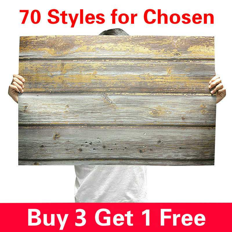 [Buy 3 Get 1 Free] 57X87cm Photography Backdrop 2 Sided Photo Background Wood Grain Waterproof Backdrops Paper For Studio Photo