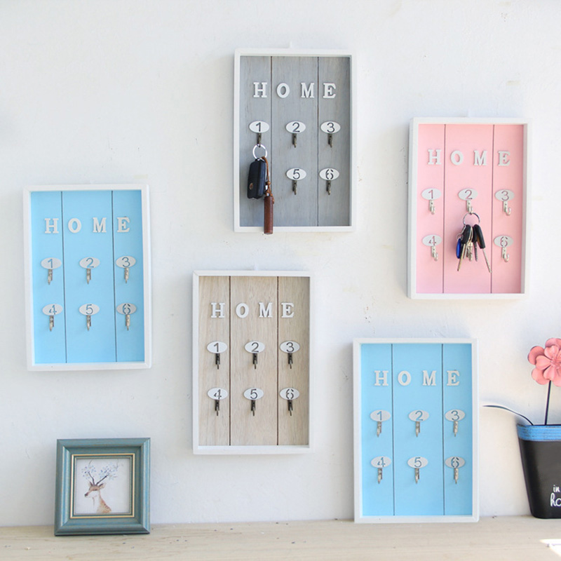 Wall Mounted Key Holder Wooden Key Hanger With 6 Hook Wall Decorative Holder GHS99