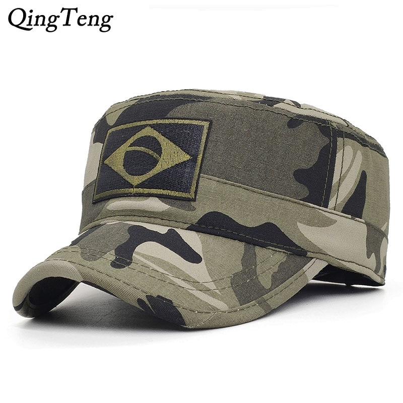 Men Tactical Camo Military Hats Embroidery Brazil Flag Flat Cap Team Male Baseball Caps Army Force Jungle Hunting Cap