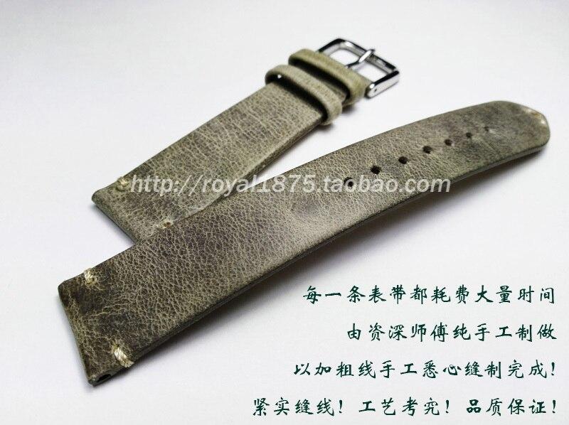 Handmade Genuine Leather Watchband Bracelet 18 19 20 21mm 22mm  Thin Watch Strap Belt With Metal Steel Buckle Watch Accessories