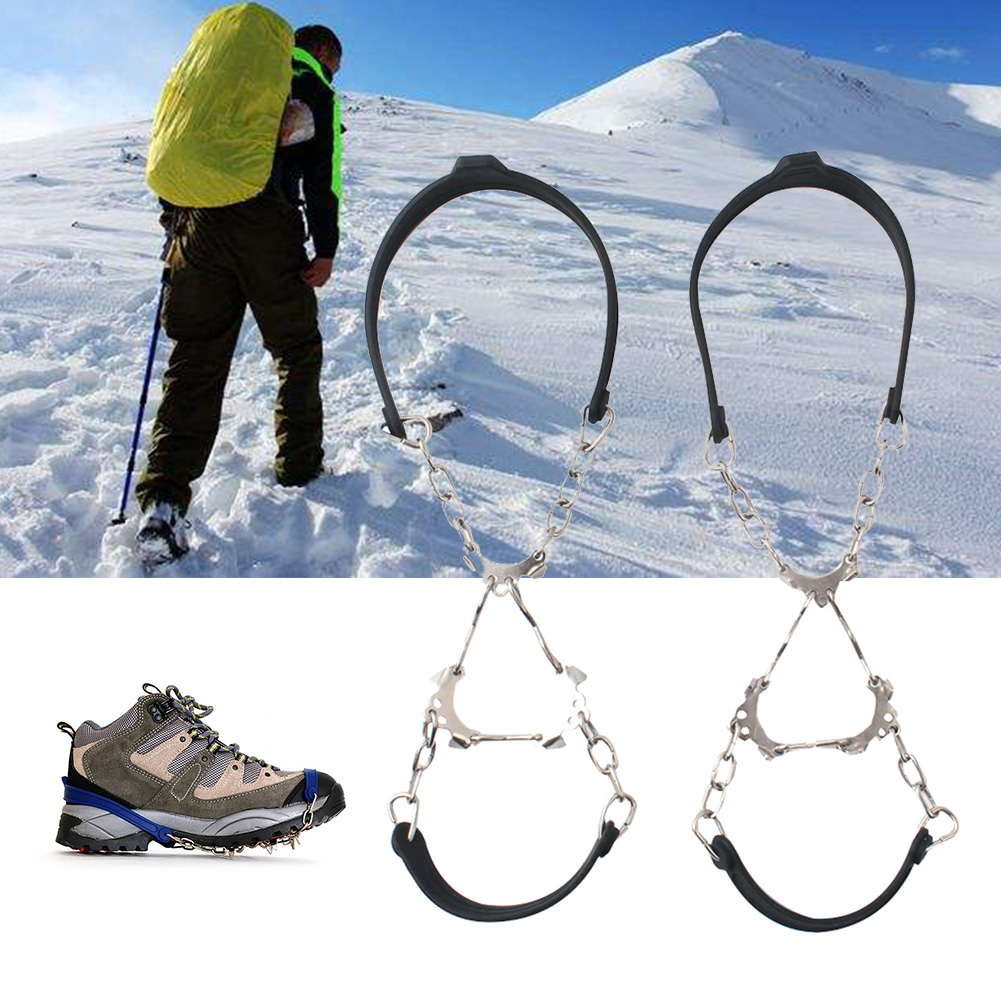 1Pair Winter Silicone Climbing Crampon 6 Teeth Shoe Spikes Chain Hiking Sports Snow Outdoor Ice Gripper Anti Slip Cleats
