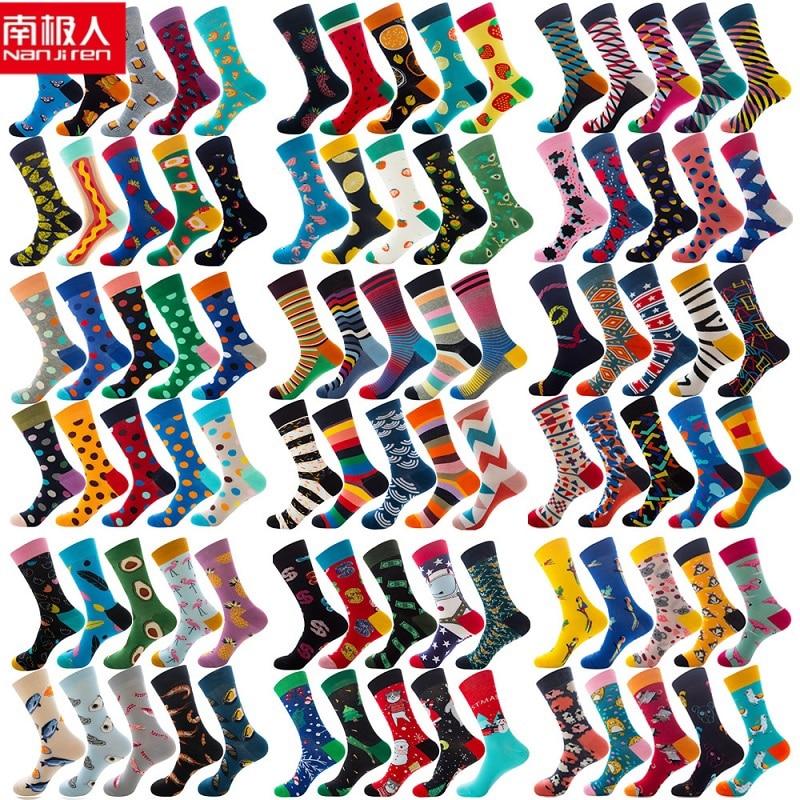 nanjiren 10 pair socks for women and men cotton funny crew socks cartoon animal fruit warm socks christmas gift middle socks