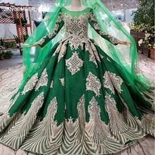 LS014874 muslim color wedding dress with long veil o neck long sleeve green wedding gown 2018 latest design in best seller list