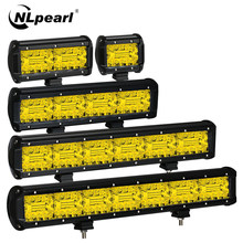 NLpearl-Barra de luz LED para todoterreno de 4-20 pulgadas, 3 filas, amarillo, 12V, 24V, para Jeep, camión, Suv, 4x4, Tractor, barco, Atv, Luz antiniebla