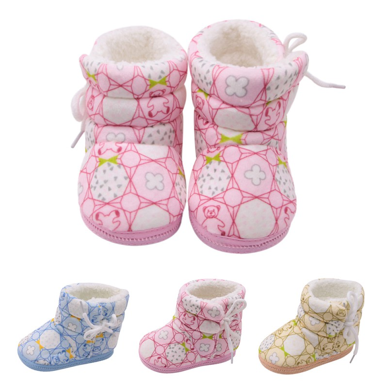 WEIXINBUY Baby Shoes Baby Boots Booties Girl FFloral Print Thick Winter Soft Infant Boy Warm Shoe 0-18M