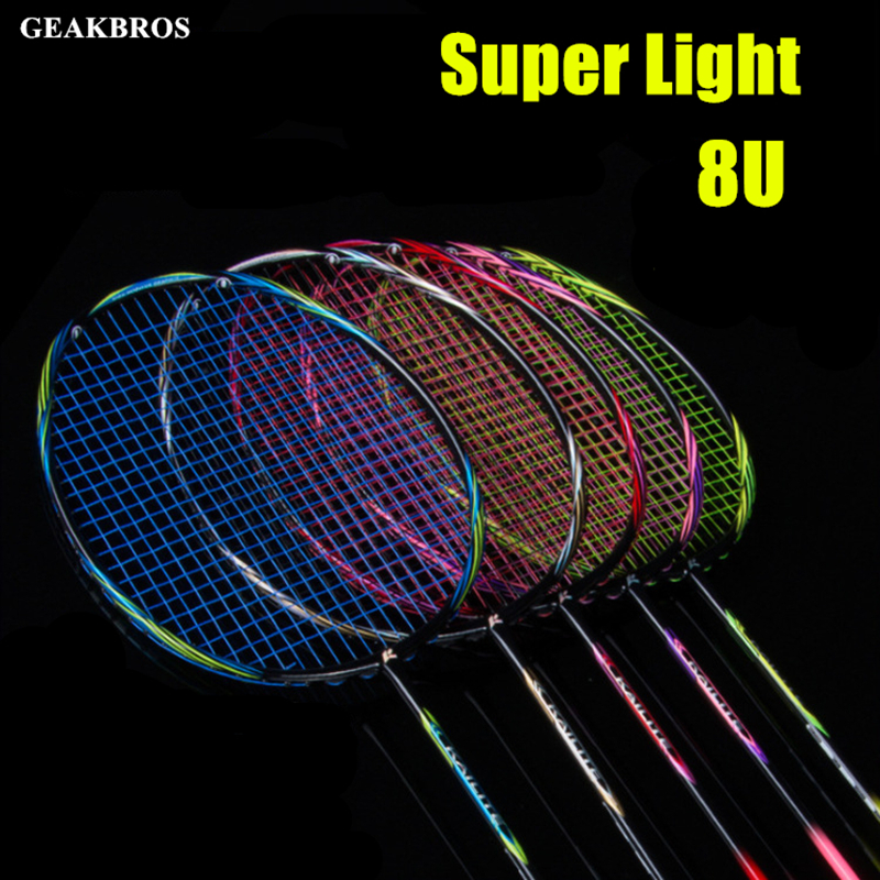 8U 65g Badminton Racket Professional Carbon Fiber Raquette Super Light Weight Game Rackets 22-35lbs Sport Trainning Force Paddle