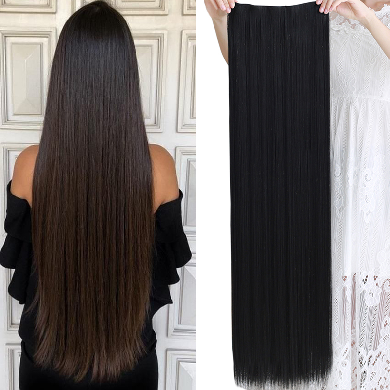 AILIADE 100cm 5 Clip In Hair Extension Heat Resistant Hairpieces Long Straight Hairstyles Synthetic Clip In On Hair Grey Hair