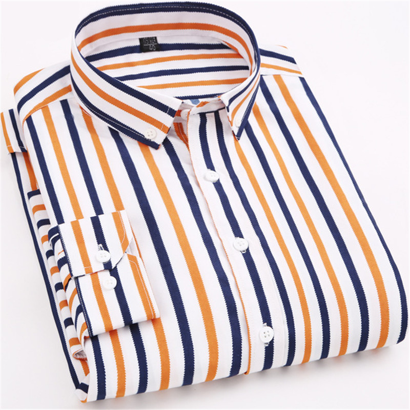 2020 Spring Fashion Striped Casual Mens Long Sleeved Shirts Fabric Soft Comfortable Men Dress Slim Fit Social Formal Shirts