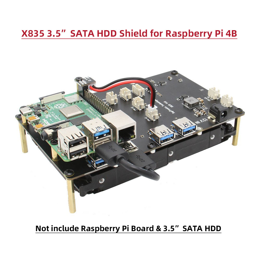 Raspberry Pi 4B X835 Storage Expansion Board Supports 3.5 Inch SATA HDD For Raspberry Pi 4 Model B Only
