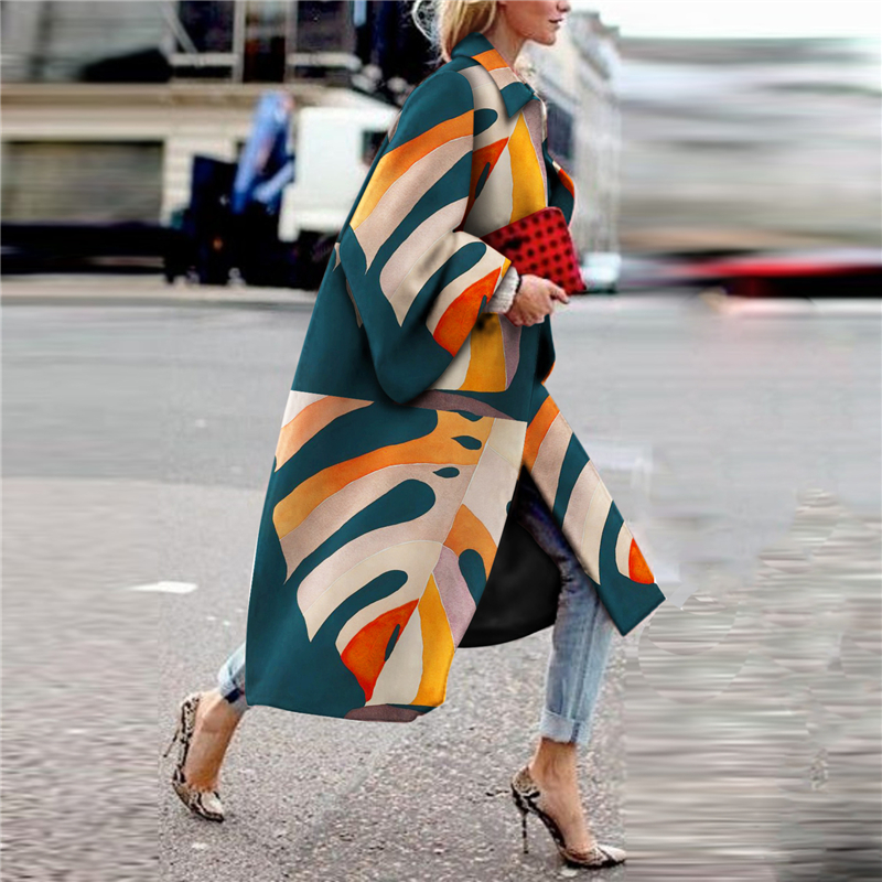 Fashion Printed Colour Long Sleeve coat jackets 2019 Autumn Winter female vintage jacket Stitched print Casual Women's Outwear-in Wool & Blends from Women's Clothing