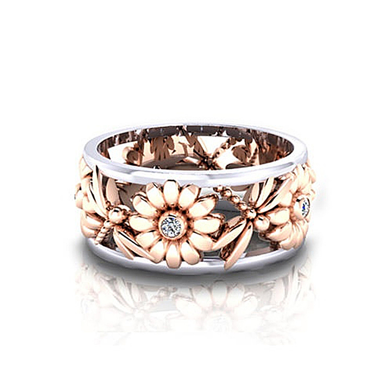 USTAR Carving Sunflower Dragonfly finger Rings for women Rose gold/Silver Cubic Zirconia Female Bijoux Bague Anel