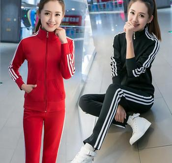 Spring and Autumn New Korean sports suit women's fashion large size thin three bar leisure two piece set