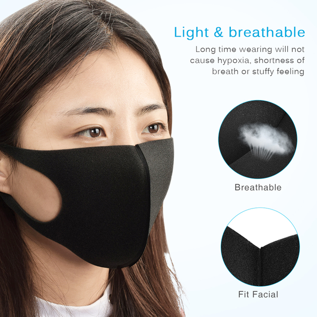 Black PM2.5 Mouth Mask Anti Dust Mask Activated Carbon Filter Windproof Mouth-muffle Bacteria Proof Flu for Men Women Face mask 4