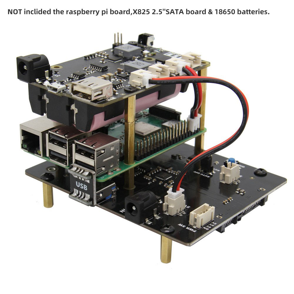 X705 UPS HAT 18650 Power Max 5.1V 8A Output Expansion Board Smart Uninterruptible Power Supply For Raspberry Pi 4 Model B/3B+/3B