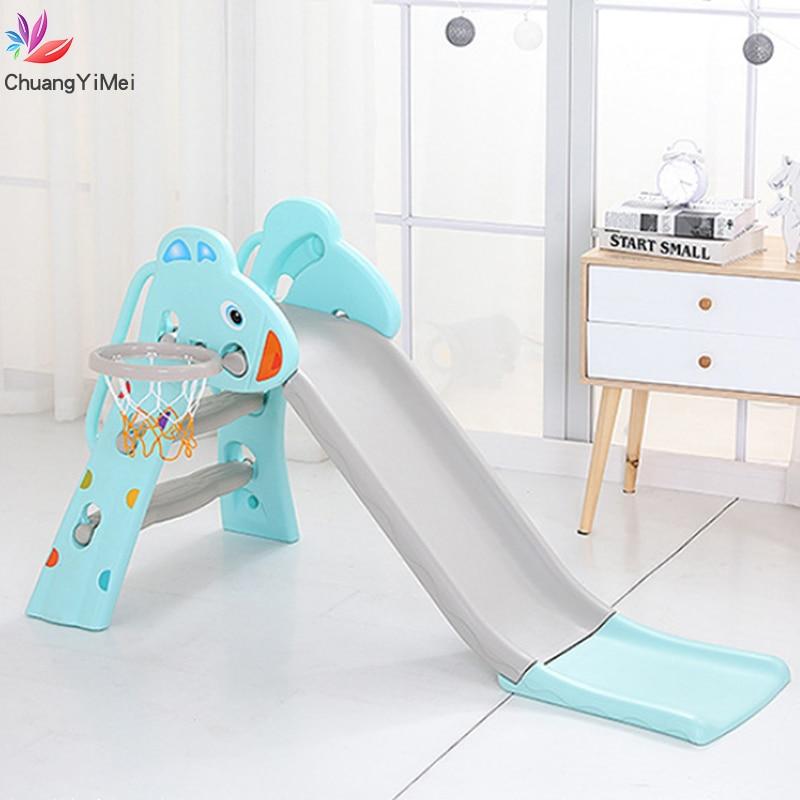 Baby Slide Combination Children Outdoor Indoor Home Kindergarten With Basketball Box Baby Playground Multifunctional Toy M018(China)