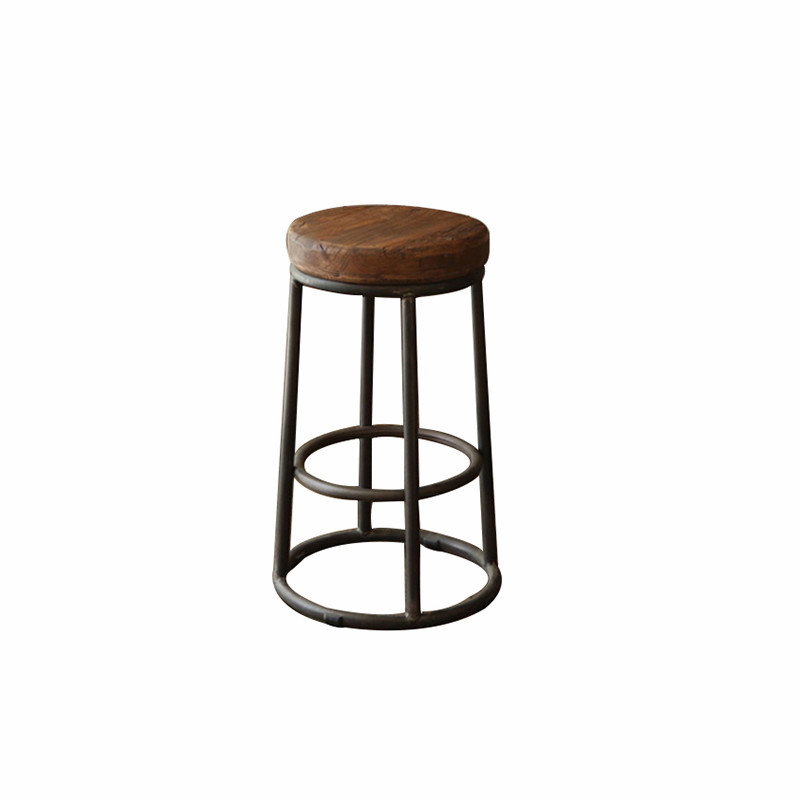 American Style Iron Leisure Chair Retro Bar  Solid Wood   Old Round  Stool High Foot Dining  Coffee