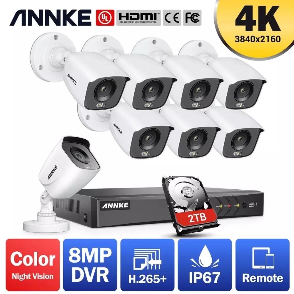 ANNKE 4K Ultra HD 8CH DVR Kit H.265+ CCTV Camera Security System 8MP CCTV System IR Outdoor Night Vision Video Surveillance Kits