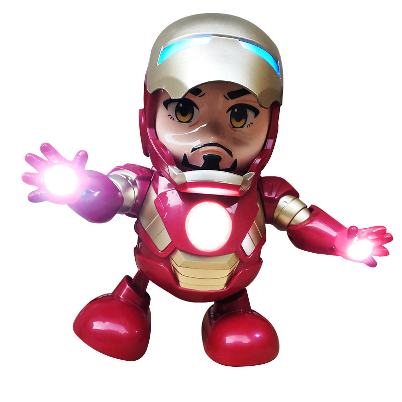 Cross Border Currently Available Avengers 4-Iron Man Dancing Robot Cute With Music Light Anime Peripheral Toy