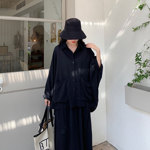 Women 2 Piece Set Long Sleeve Casual  Pockets Loose Large Pants Suit Solid Black 2