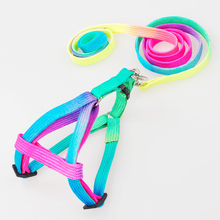 Durable Colorful Rainbow Pet Dog Collar Chest strap Harness Leash Soft Walking Lead Nylon Traction Rope