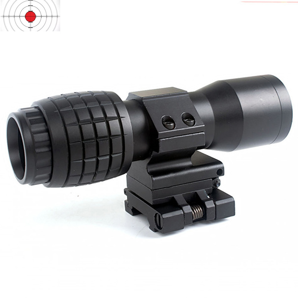 Tactical Airsoft 4X Magnifier Magnifying Focus Adjusted With Flip Up Mount Scope For Hunting Shooting
