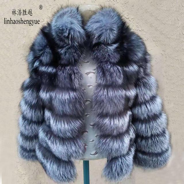 Linhaoshengyue moda kadın gümüş tilki kürk ceket kadın düzenli bölüm yatay şerit tilki kürk ceket kadın standı yaka