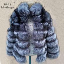 Женское пальто с мехом лисы linhaoshengyue, прямое пальто с горизонтальными полосками и воротником стойкой из серебристого лисьего меха