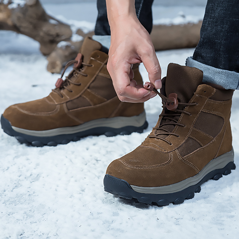 Men Boots 2019 Winter Genuine Leather Shoes Warm Thick Wool Men Ankle Snow Boots Non-slip Winter Boots For -40 Degrees