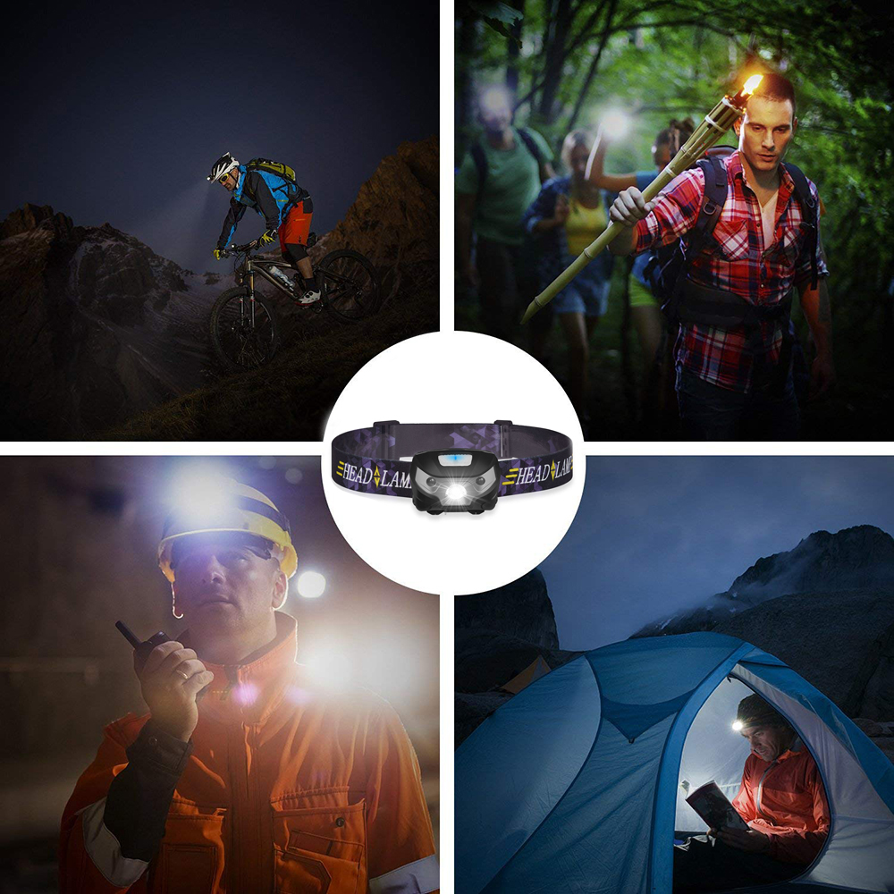 Купить с кэшбэком Rechargeable LED headlamp Sensor switch headlight Waterproof Super bright 5 lighting modes fishing headlamp with USB cable